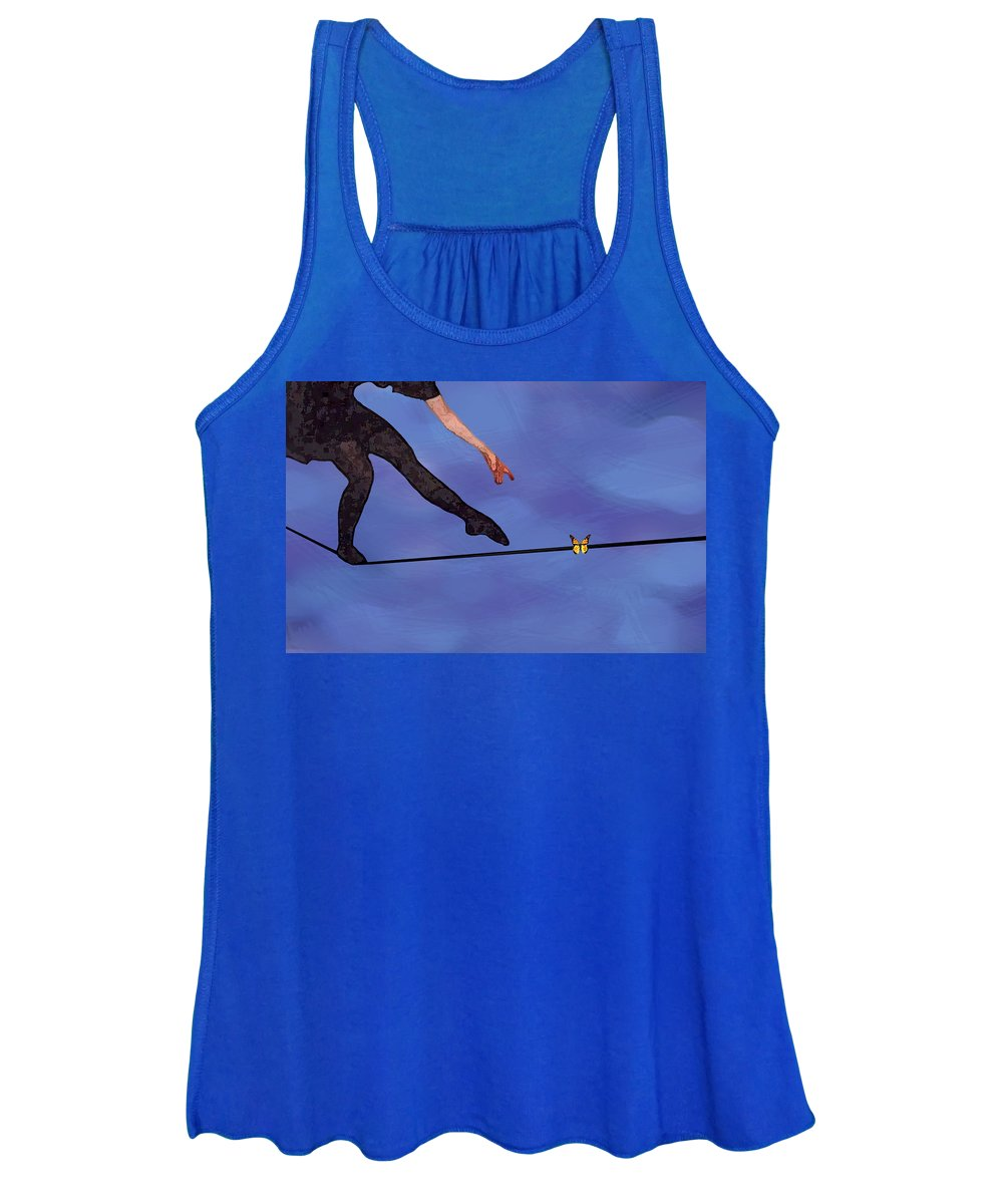 Surreal Women's Tank Top featuring the painting Catching Butterflies by Steve Karol