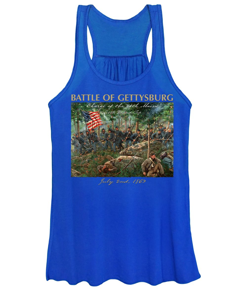 Maritato Women's Tank Top featuring the painting Charge Of The 20th Maine - Joshua L. Chamberlain Leading The 20th Maine Regiment On Little Round Top by Mark Maritato