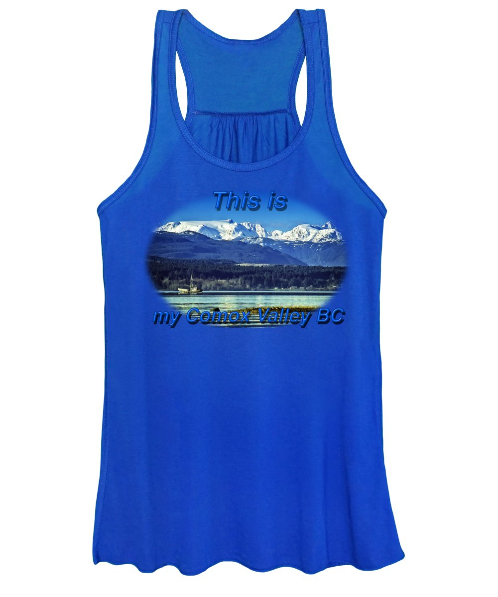 Comox Glacier Women's Tank Top featuring the digital art Comox Glacier And Herring Boat by Richard Farrington