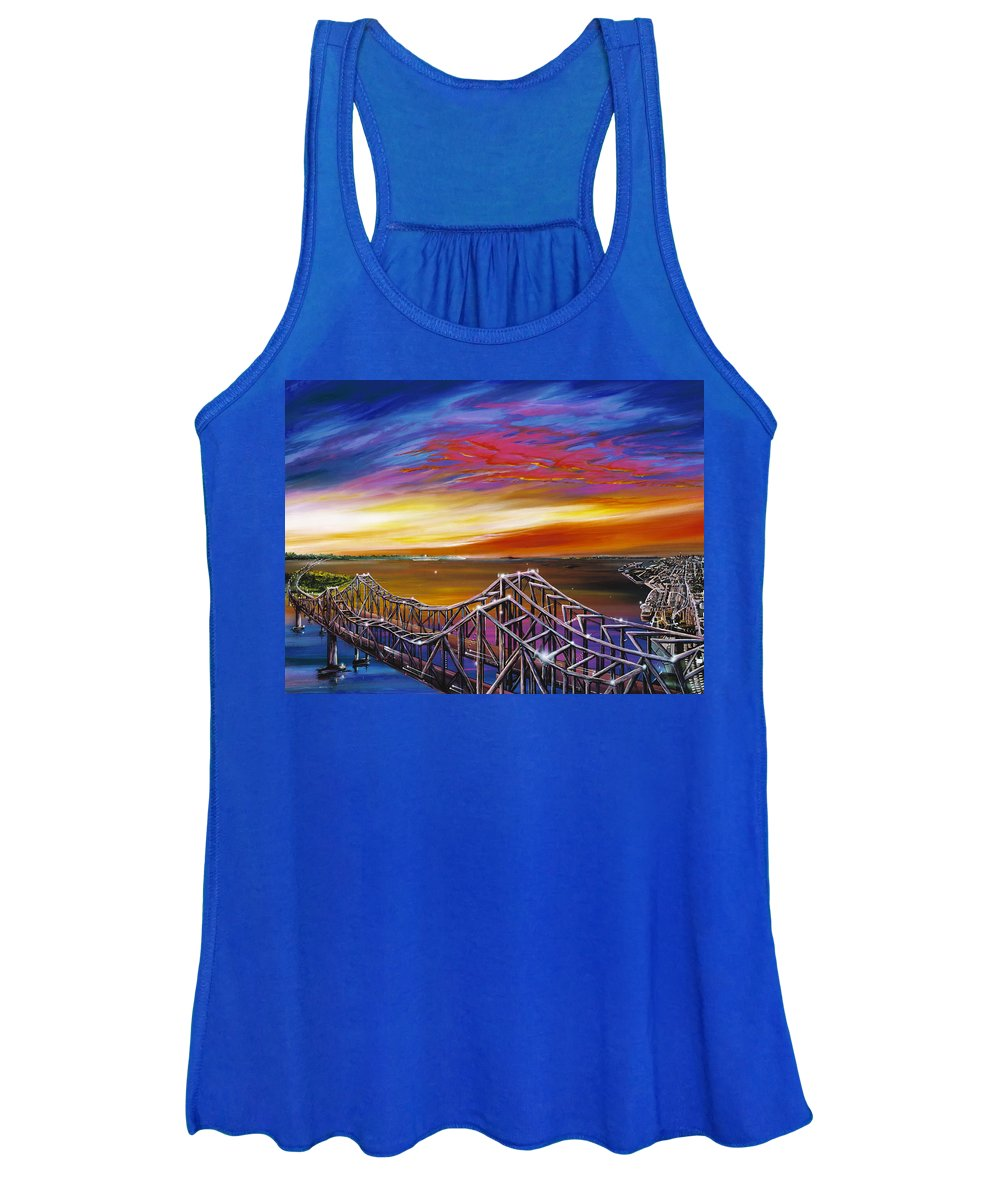 Clouds Women's Tank Top featuring the painting Cooper River Bridge by James Christopher Hill