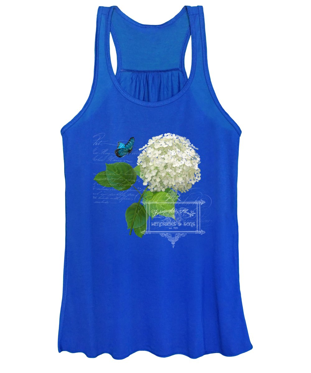 White Hydrangea Women's Tank Top featuring the painting Cottage Garden White Hydrangea With Blue Butterfly by Audrey Jeanne Roberts