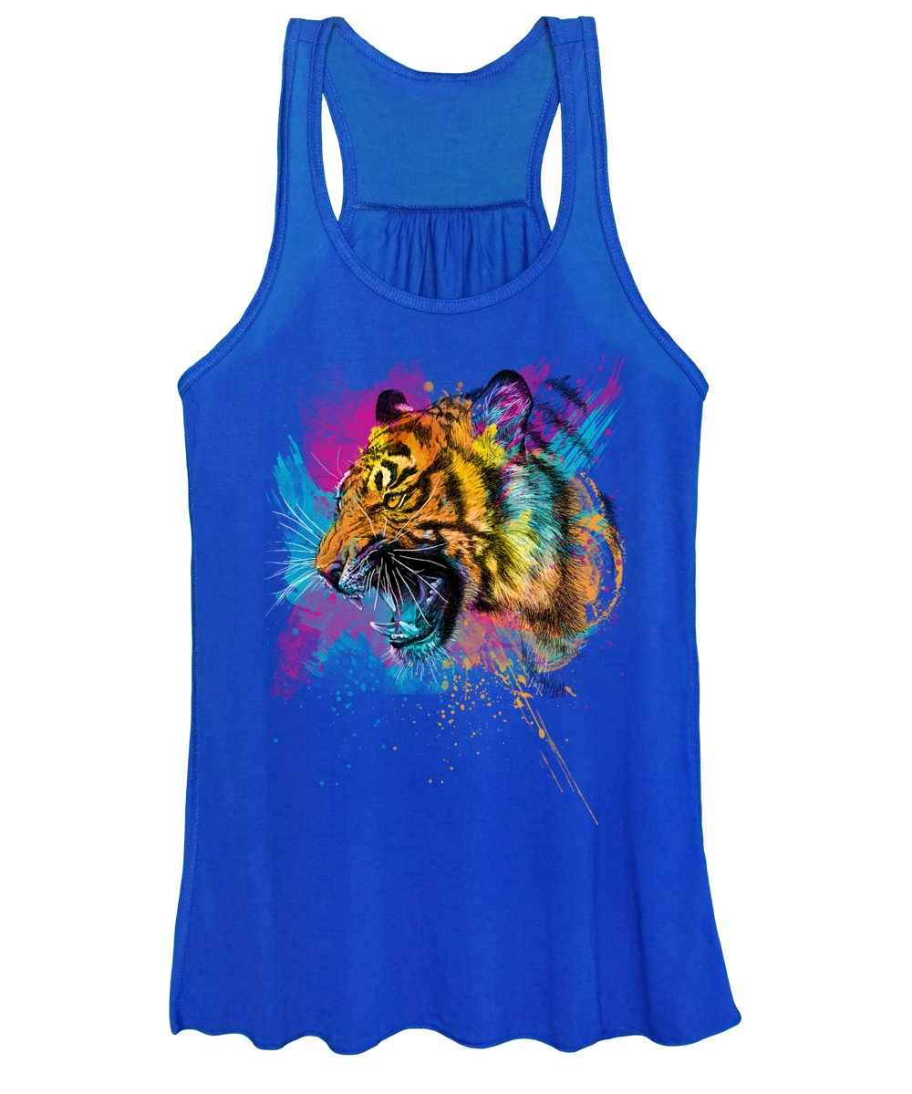 Tiger Women's Tank Top featuring the digital art Crazy Tiger by Olga Shvartsur