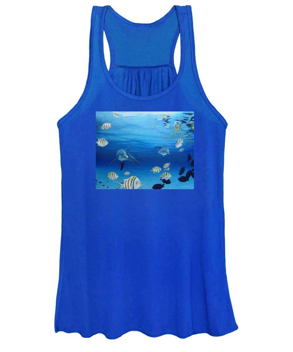 Seascape Women's Tank Top featuring the painting Delphinus by Angel Ortiz
