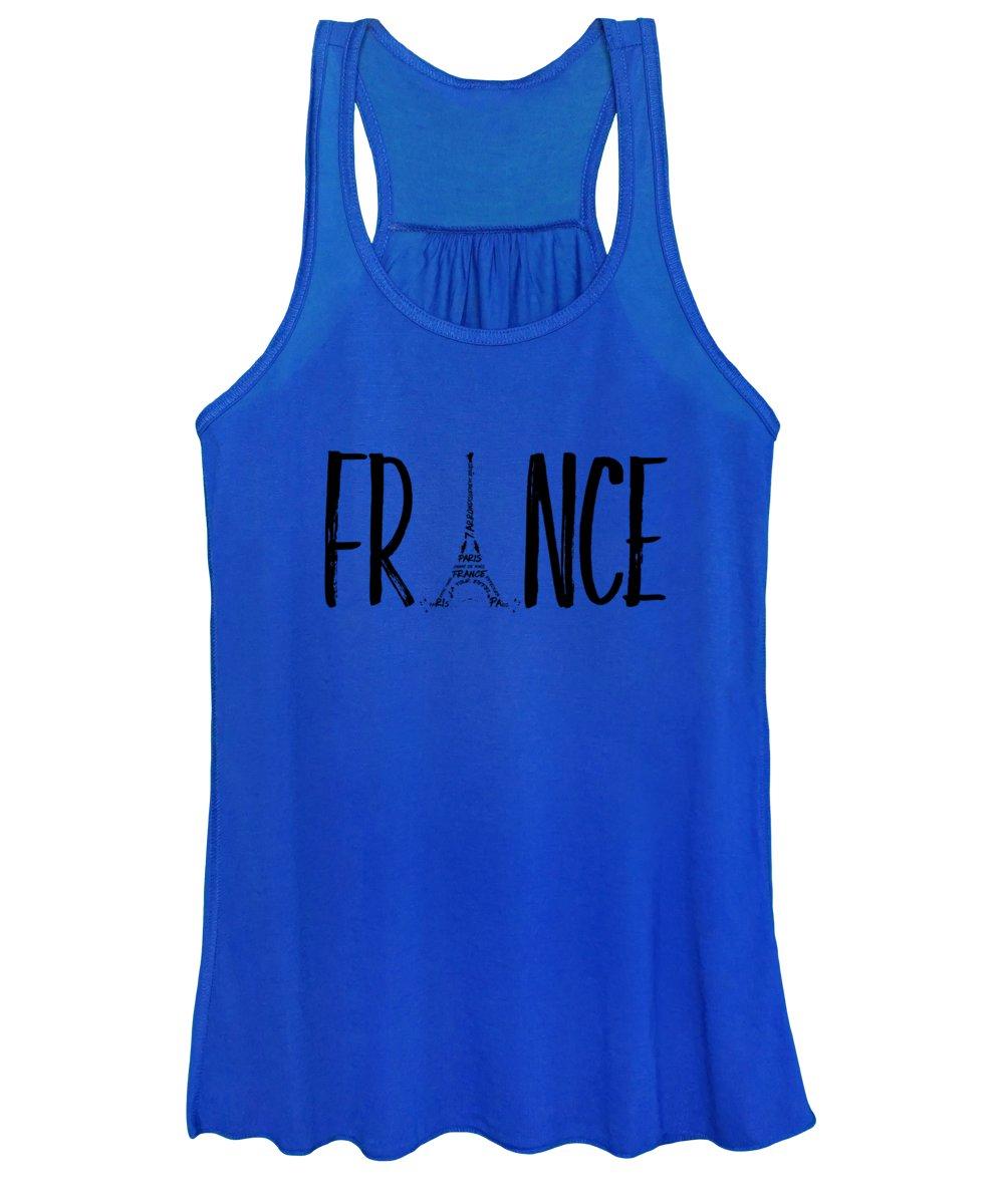 Paris Women's Tank Top featuring the digital art France Typography by Melanie Viola