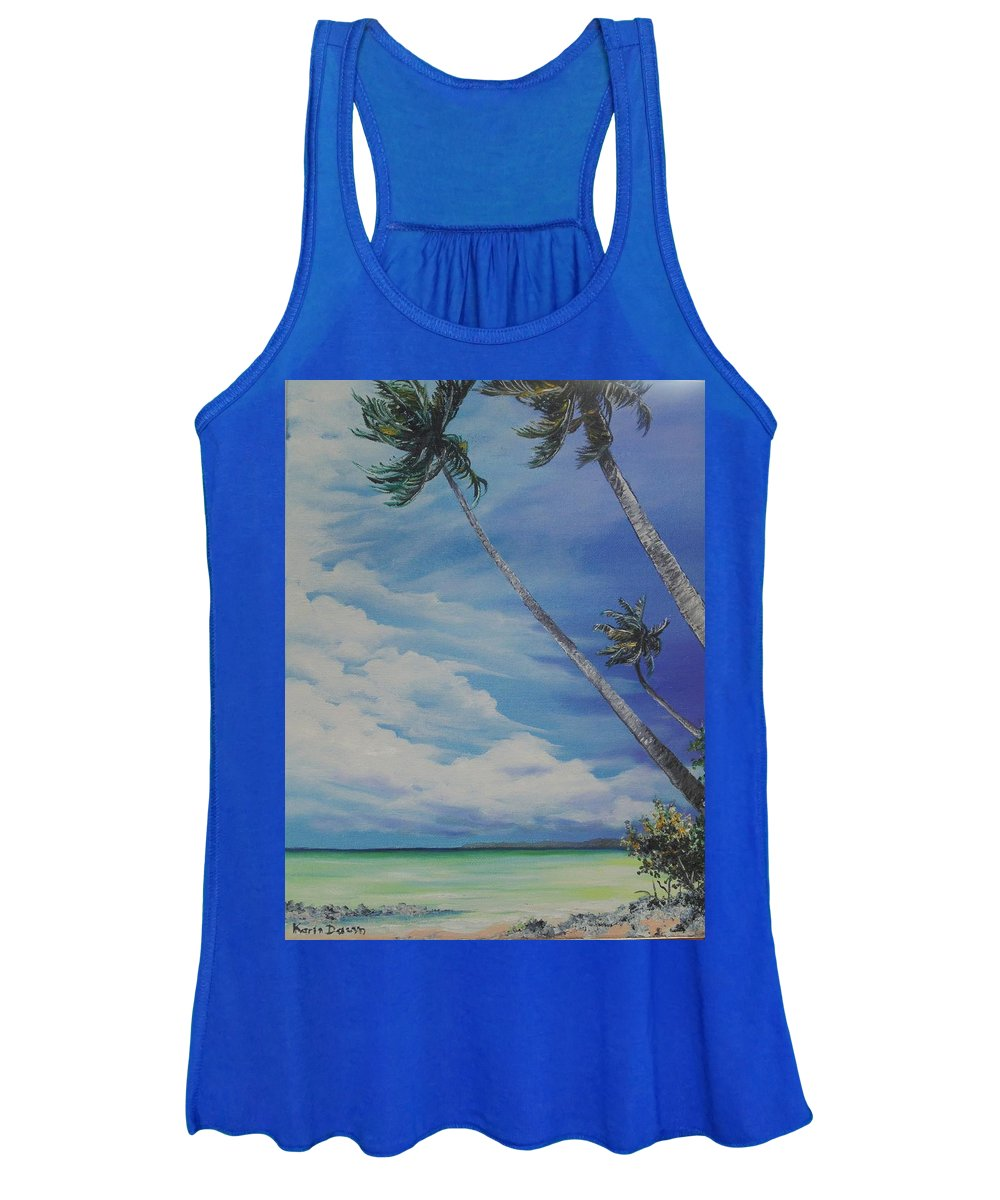Trinidad And Tobago Seascape Women's Tank Top featuring the painting Nylon Pool Tobago. by Karin Dawn Kelshall- Best