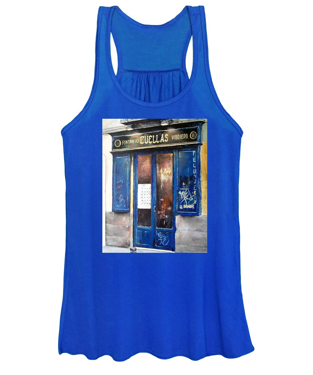 Old Women's Tank Top featuring the painting Old Plumbing-Madrid by Tomas Castano