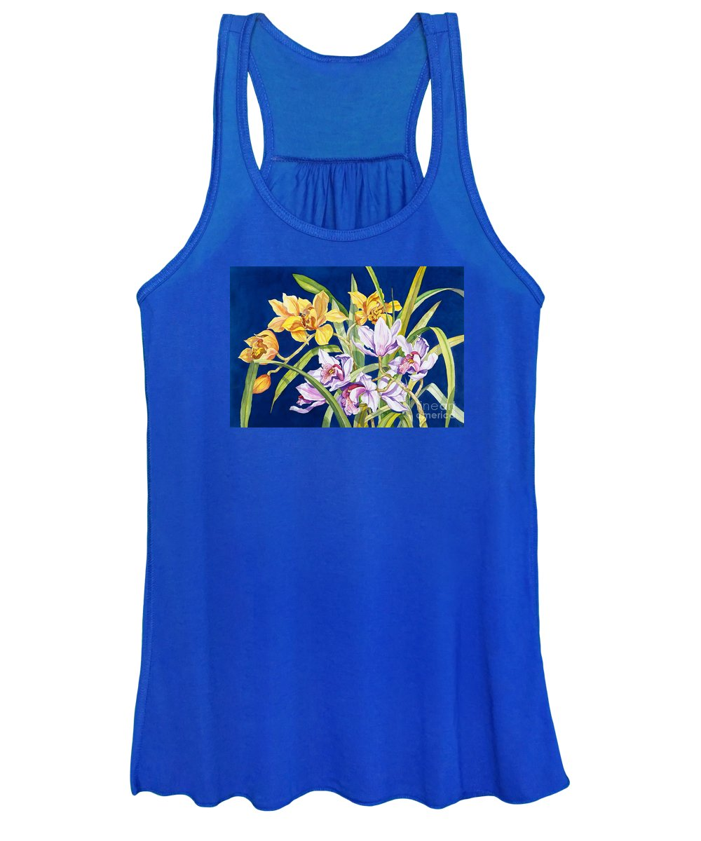 Orchids Women's Tank Top featuring the painting Orchids In Blue by Lucy Arnold