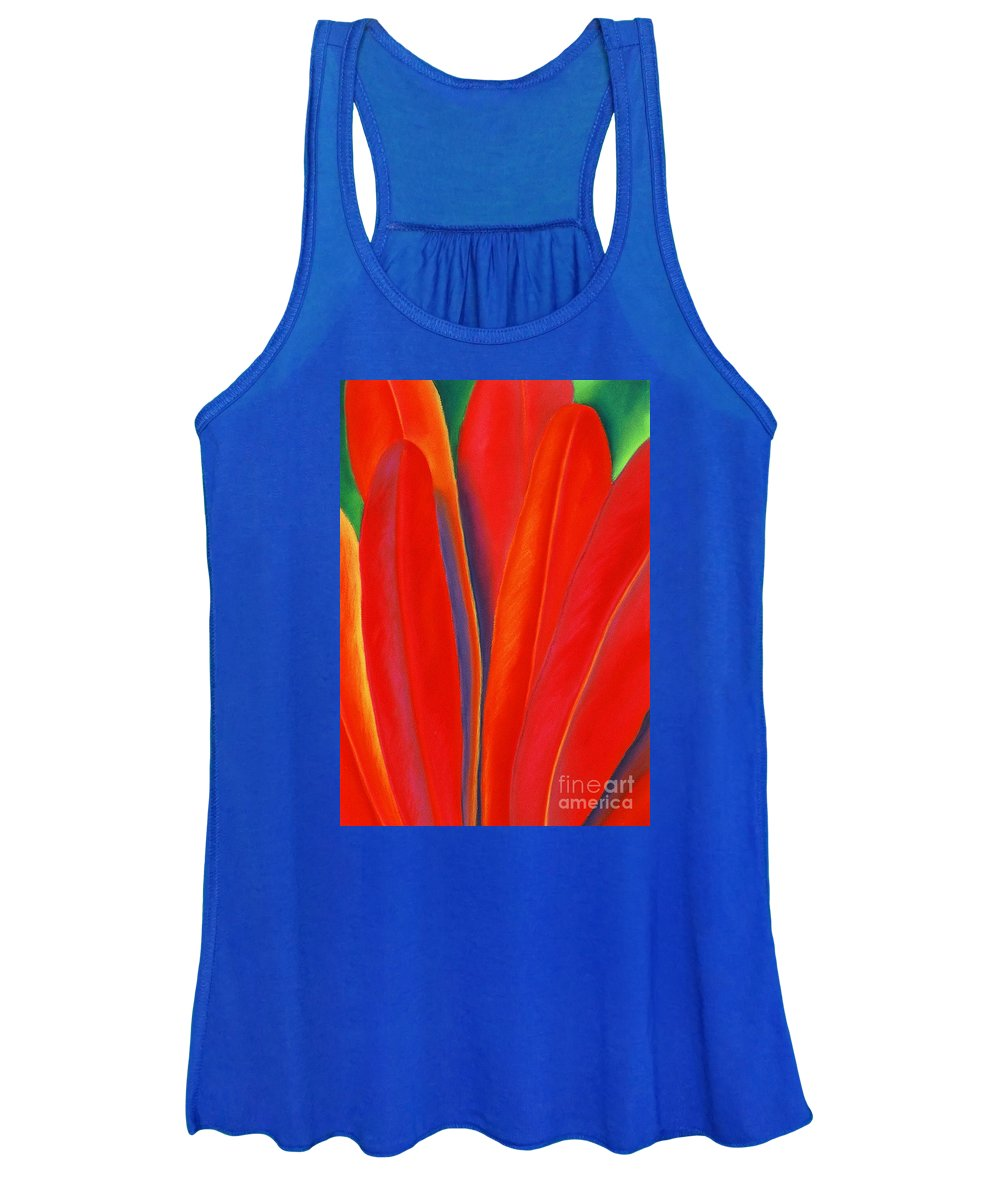 Red Women's Tank Top featuring the painting Red Petals by Lucy Arnold