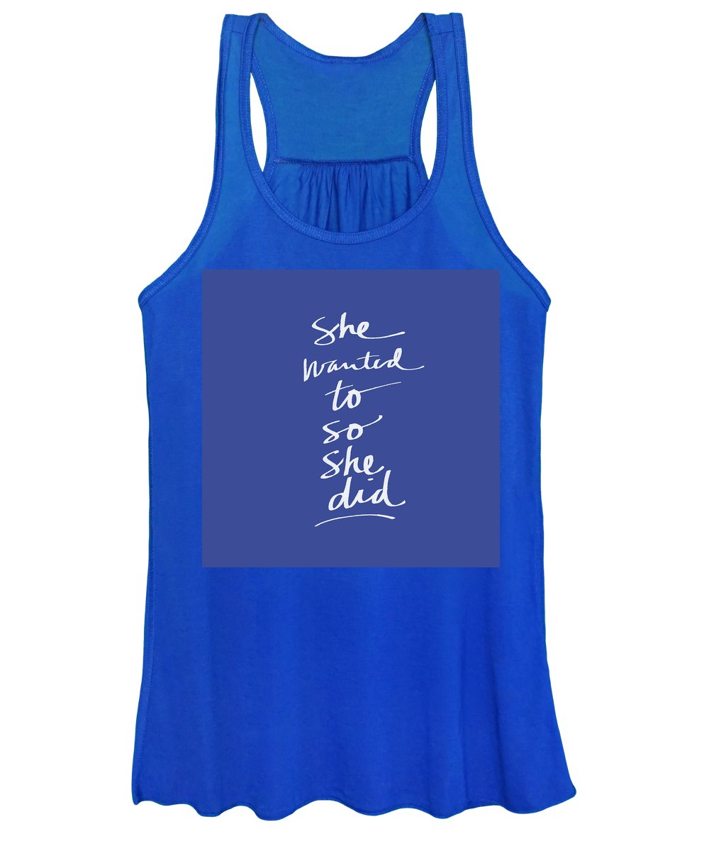 Girl Power Women's Tank Top featuring the mixed media She Wanted To Blue- Art by Linda Woods by Linda Woods