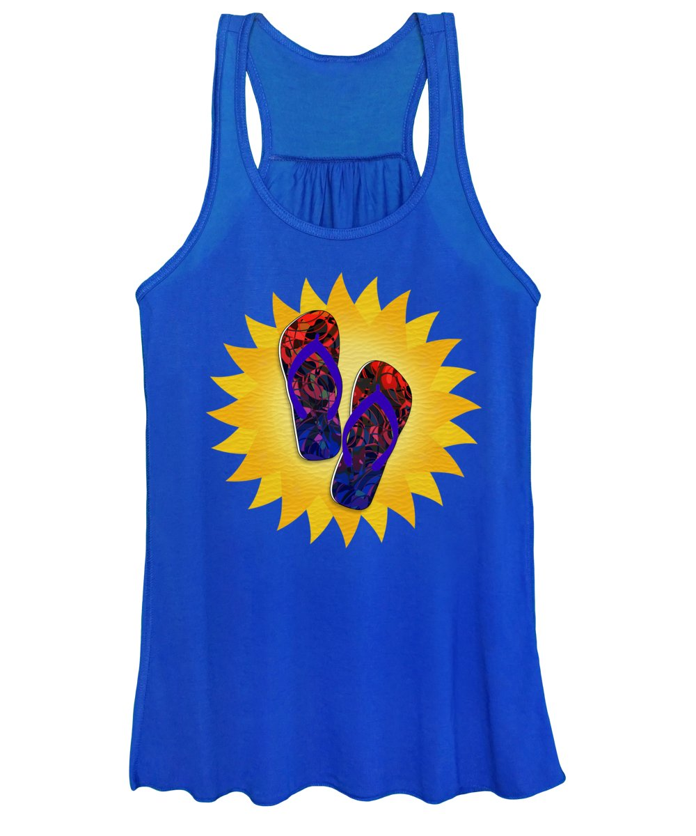 Women's Tank Top featuring the mixed media Summer Sunshine And Red Flip-flops   by Gravityx9 Designs