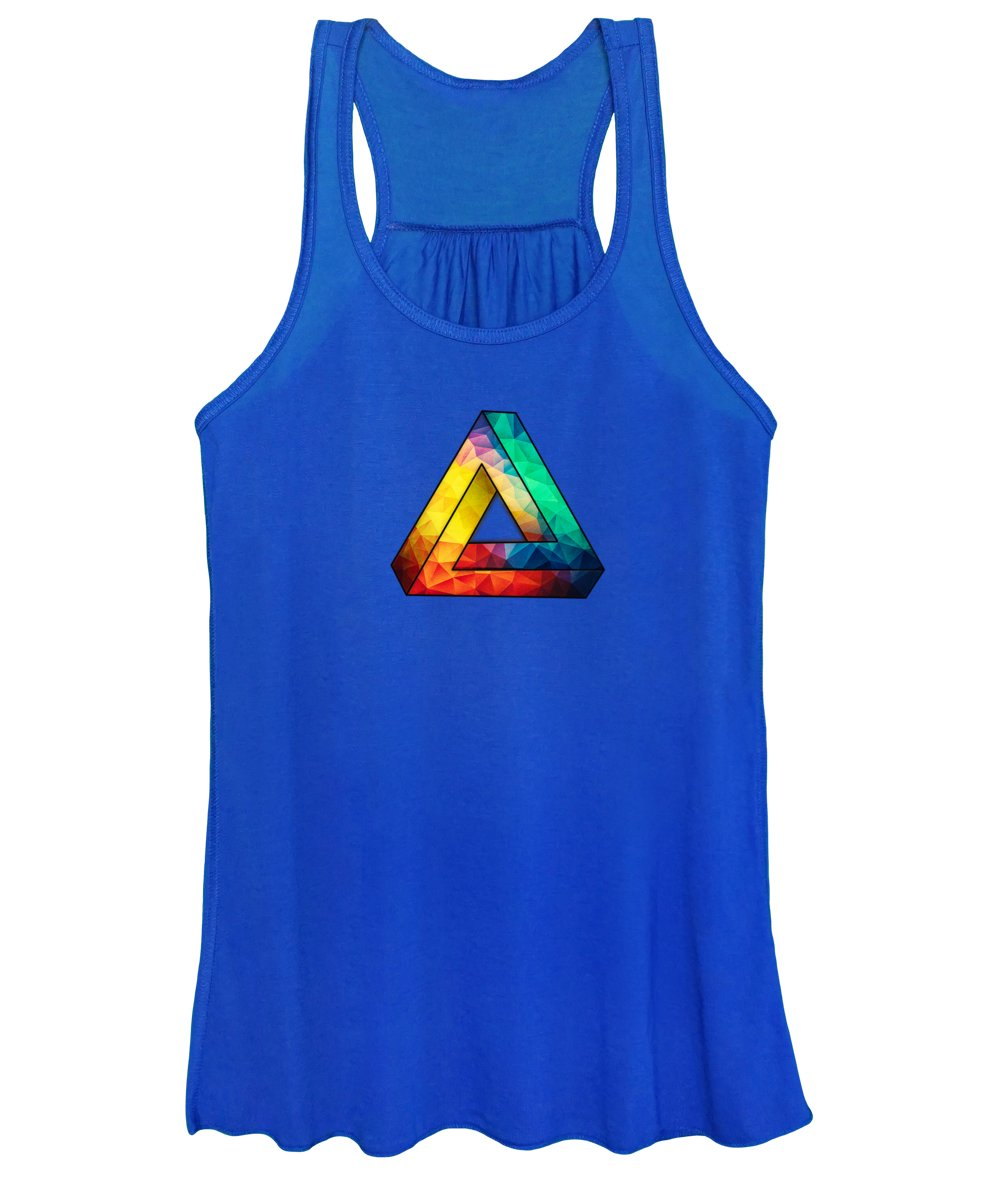 Colorful Women's Tank Top featuring the digital art Abstract Polygon Multi Color Cubism Low Poly Triangle Design by Philipp Rietz
