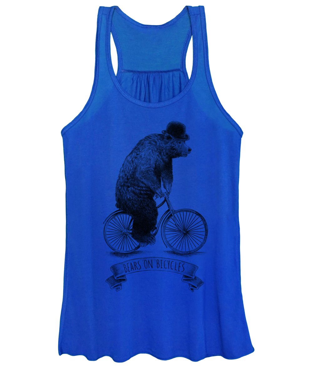 Bear Women's Tank Top featuring the drawing Bears on Bicycles - Lime by Eric Fan
