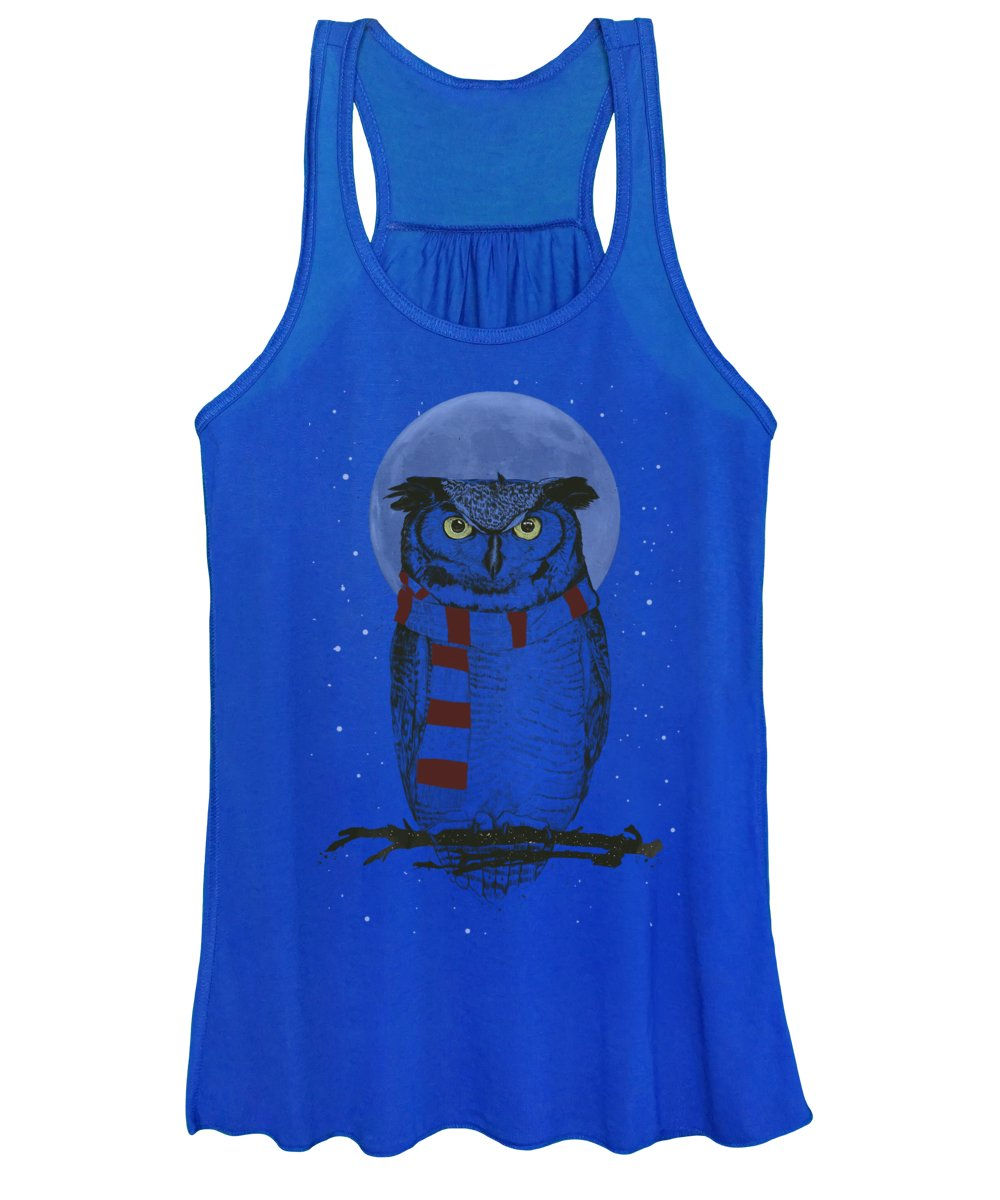 Owl Women's Tank Top featuring the mixed media Winter owl by Balazs Solti