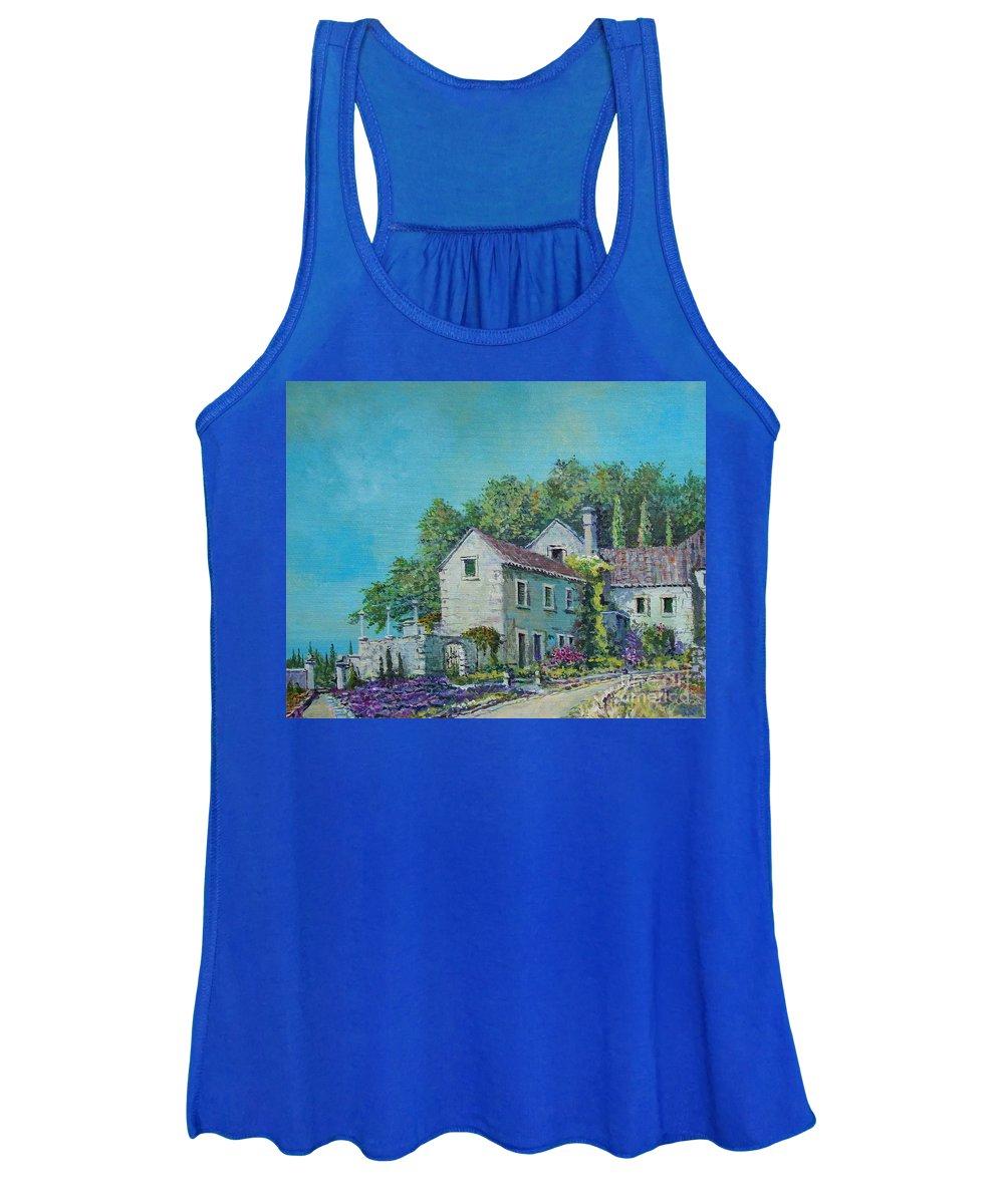 Original Painting Women's Tank Top featuring the painting Village Vista by Sinisa Saratlic