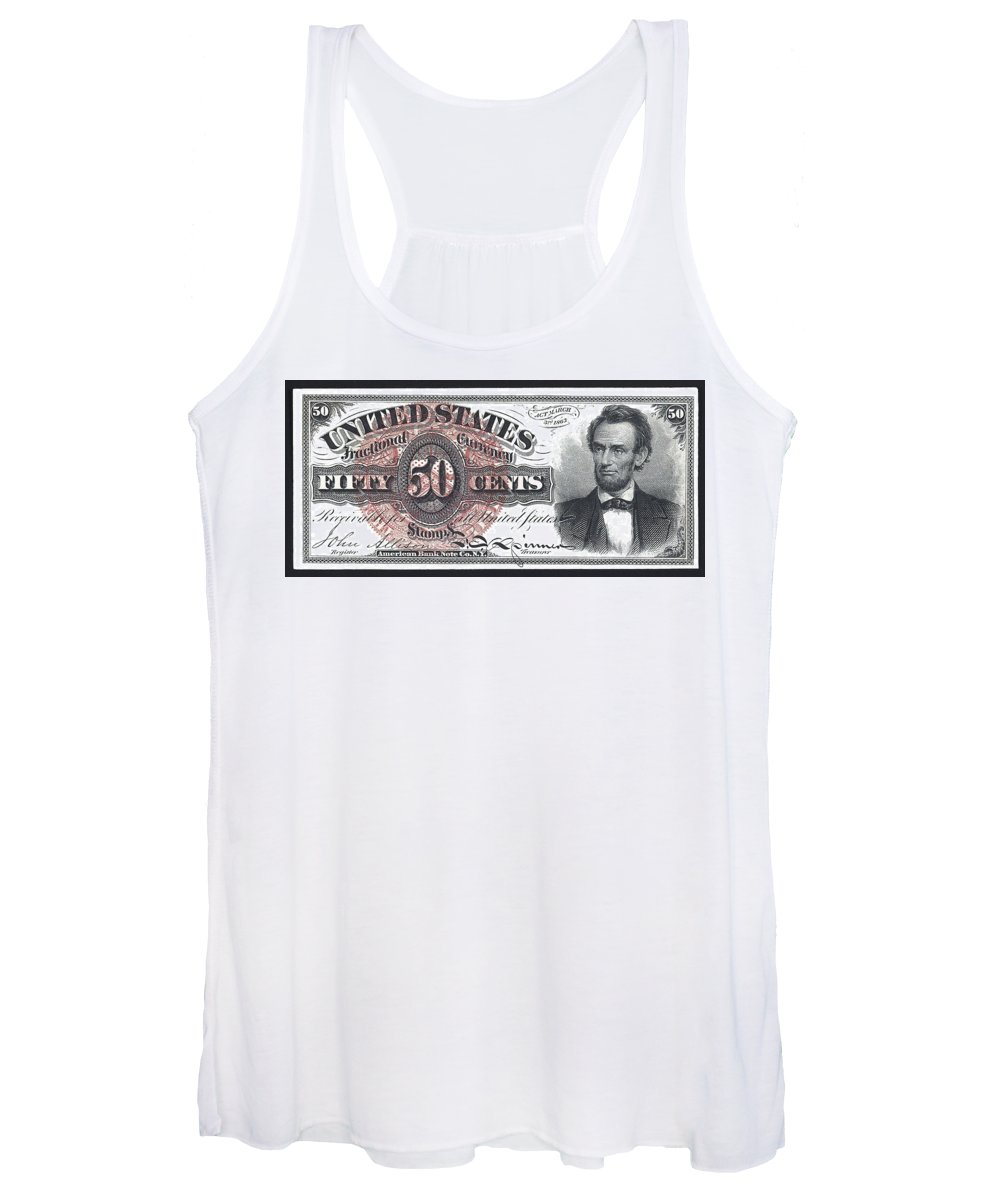 Currency Women's Tank Top featuring the digital art 50 Cent Lincoln Bill 1863 by Daniel Hagerman