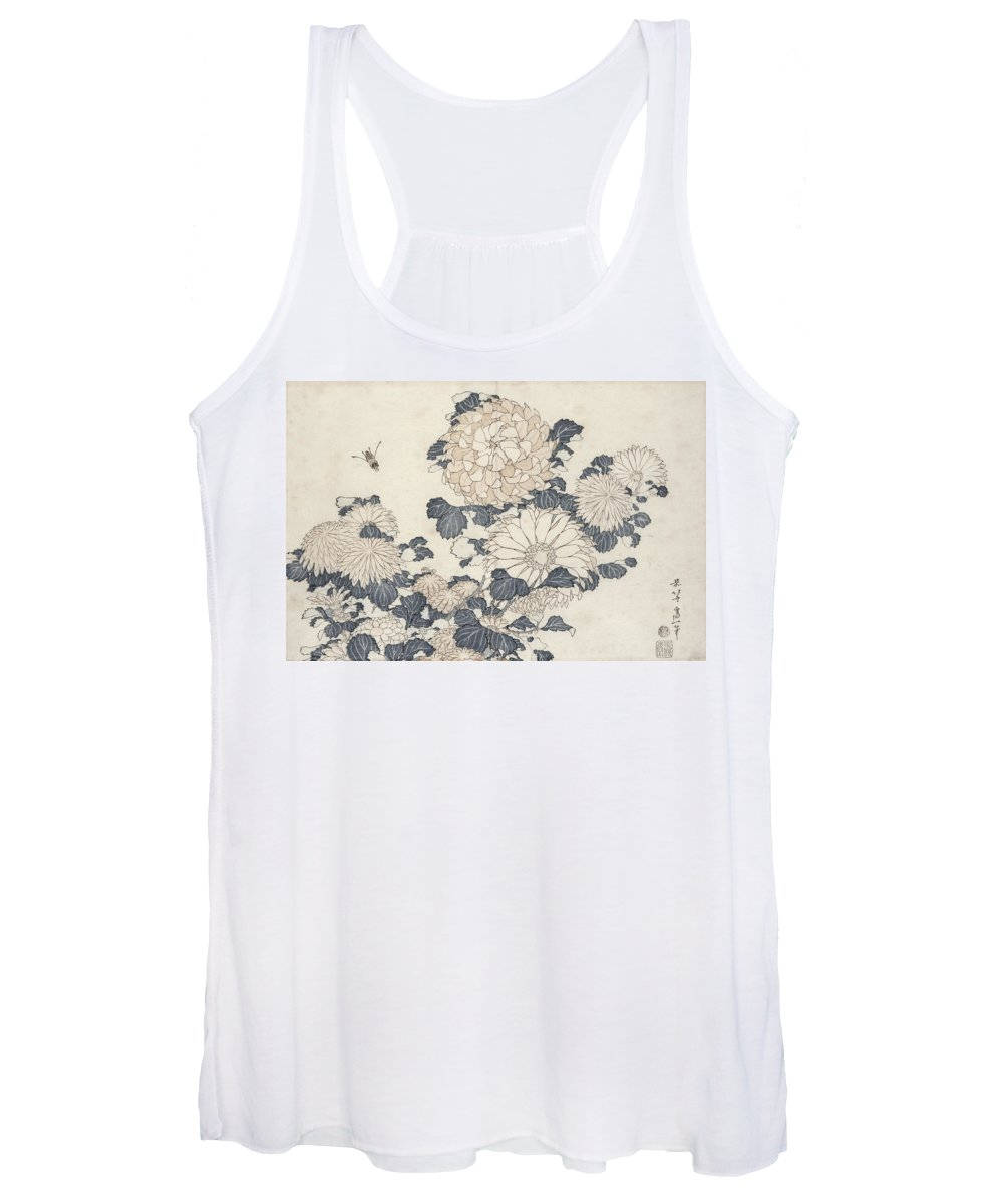 Hokusai Women's Tank Top featuring the painting Bee And Chrysanthemums by Katsushika Hokusai