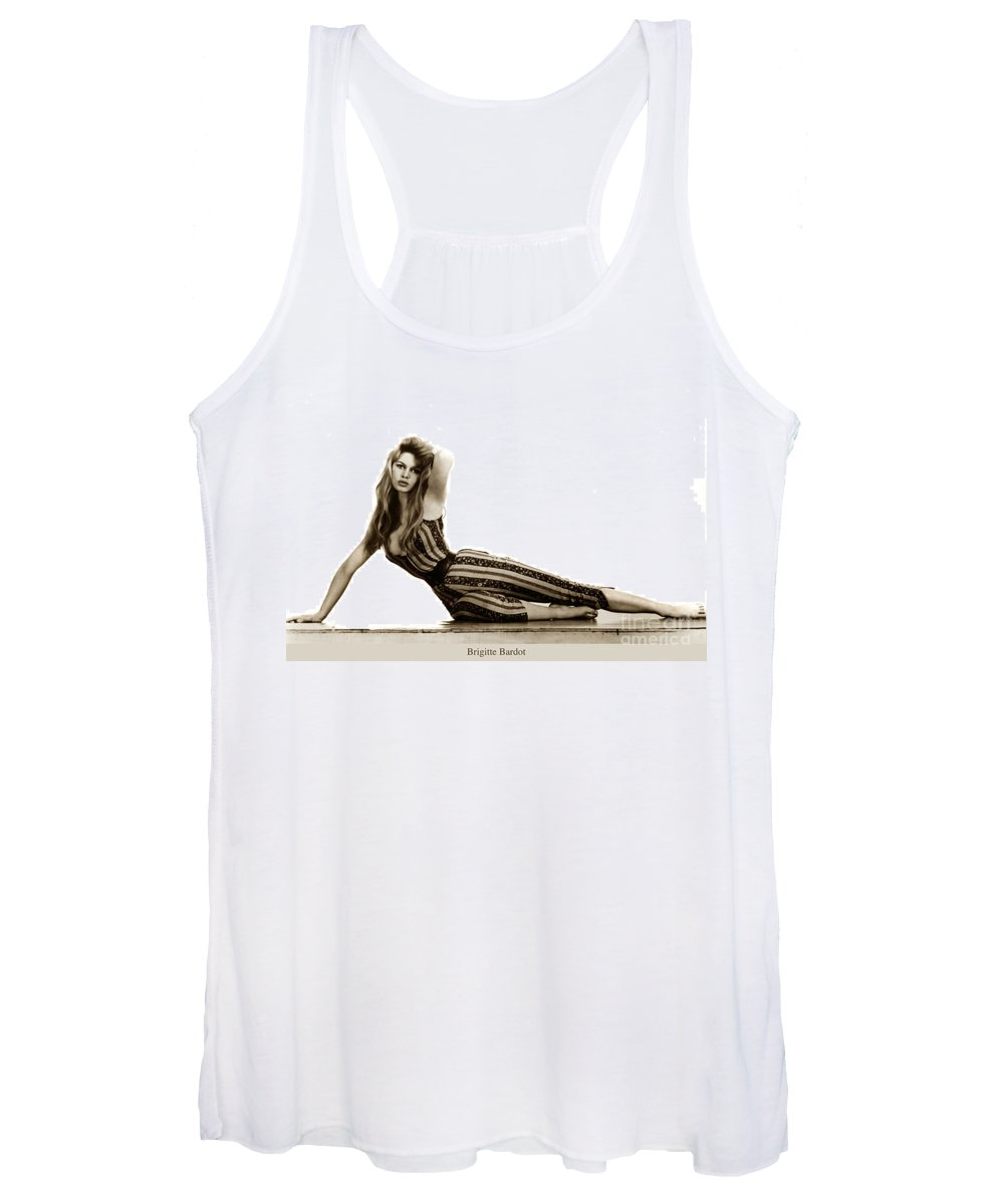 Brigitte Bardot Women's Tank Top featuring the photograph Brigitte Bardot French Actress Sex Symbol 1967 by California Views Archives Mr Pat Hathaway Archives