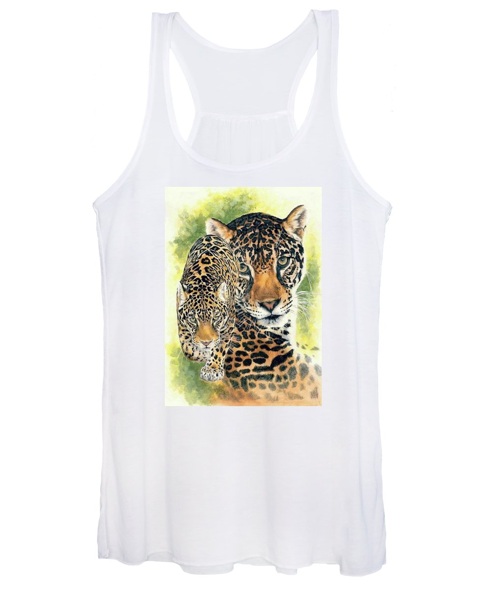 Jaguar Women's Tank Top featuring the mixed media Compelling by Barbara Keith