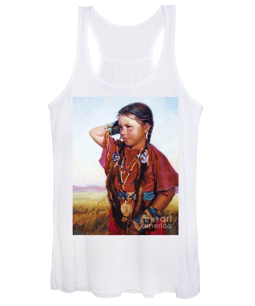 Indian Women's Tank Top featuring the painting Little American Beauty II by Jean Hildebrant