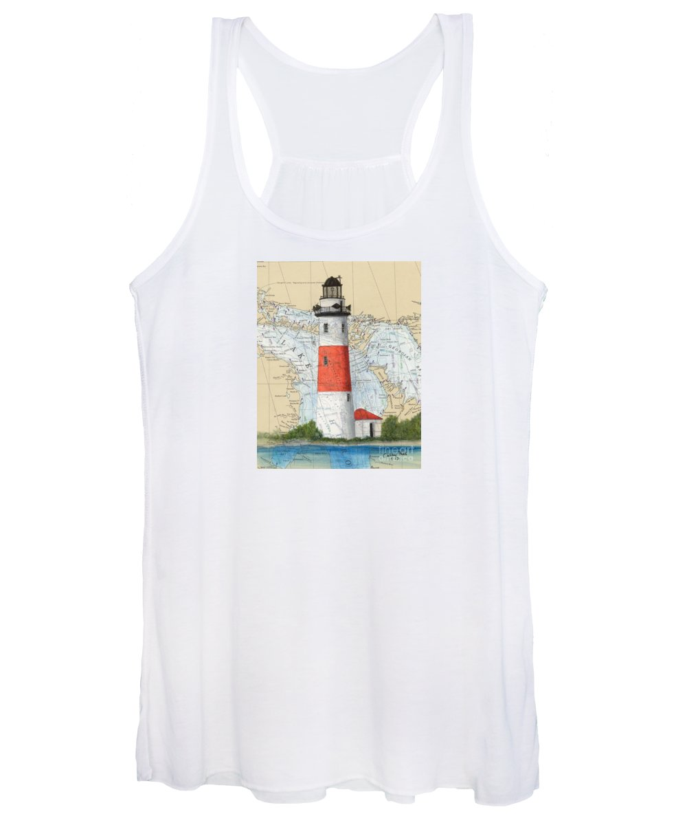 Women's Tank Top featuring the painting Middle Island Lighthouse Mi Cathy Peek Nautical Chart Art by Cathy Peek