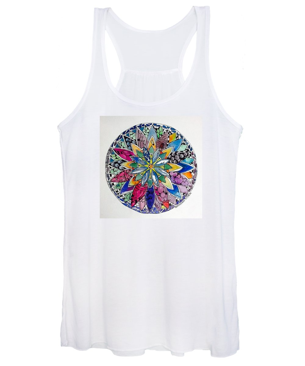 Spring Women's Tank Top featuring the painting Spring Mandala 1 by Sandra Lira