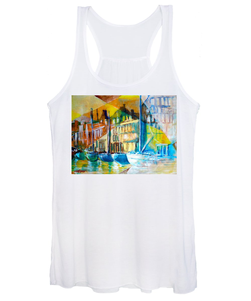 Old World Street Women's Tank Top featuring the painting Old Copenhagen thru Stained Glass by Seth Weaver