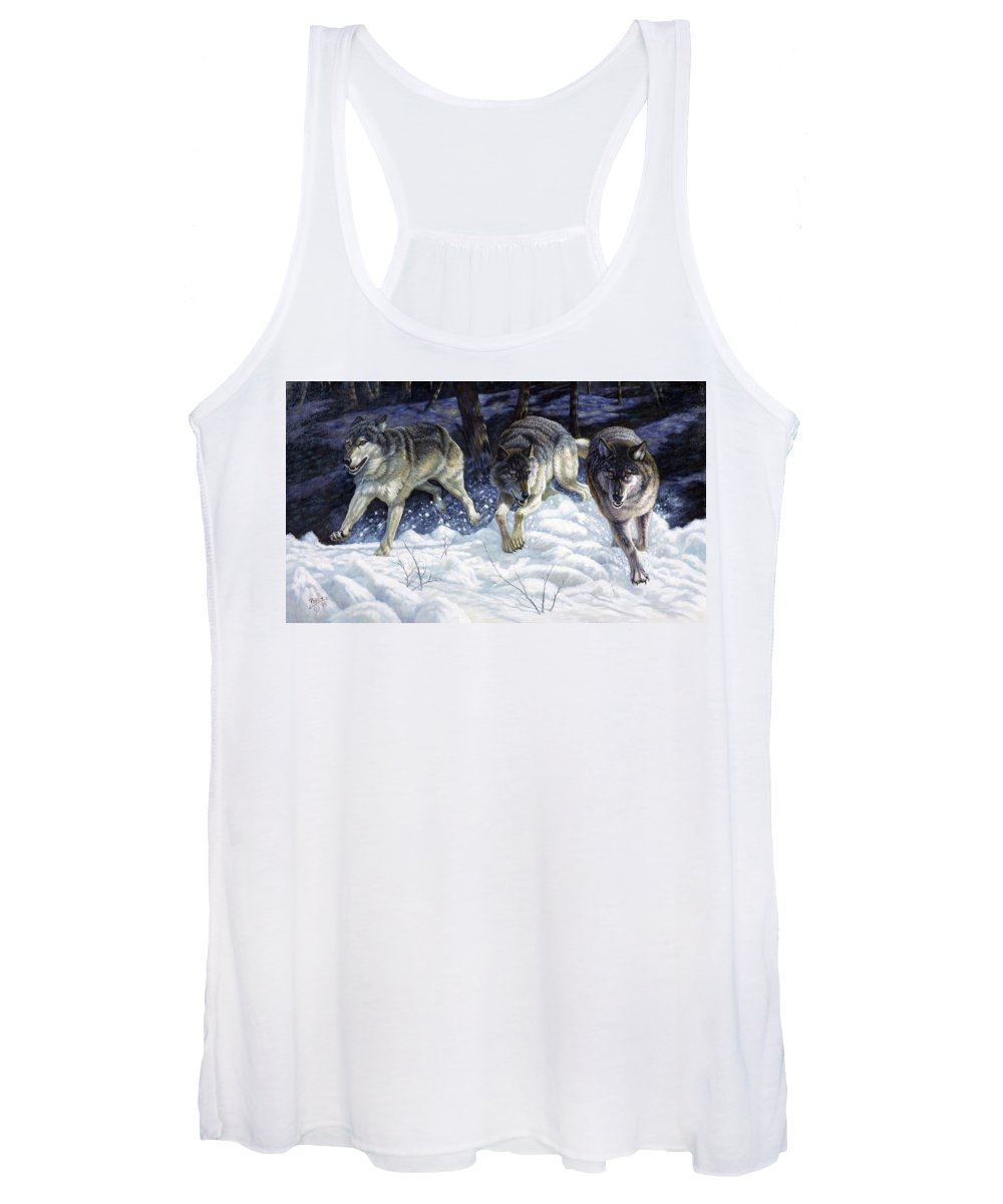 Gregory Perillo Women's Tank Top featuring the painting On The Prowl by Gregory Perillo