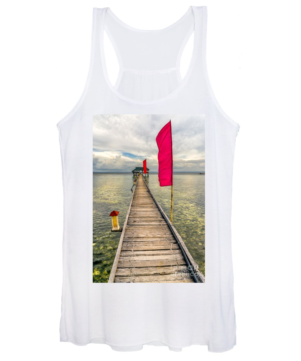 Pier Women's Tank Top featuring the photograph Pier Flags by Adrian Evans