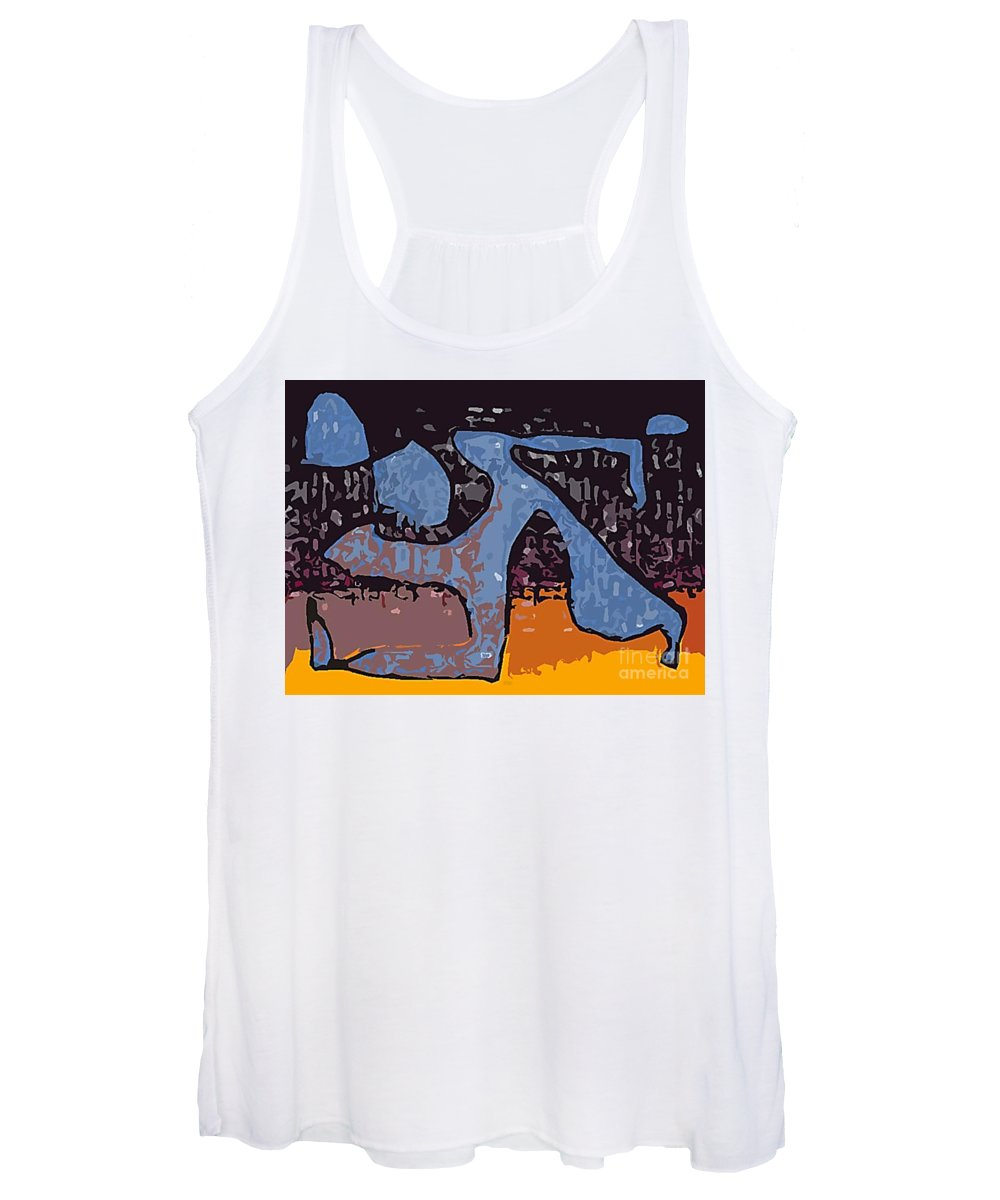 Symbolizes Speed During The Chicago Marathon Women's Tank Top featuring the digital art The Blue Runner by Christine Dekkers