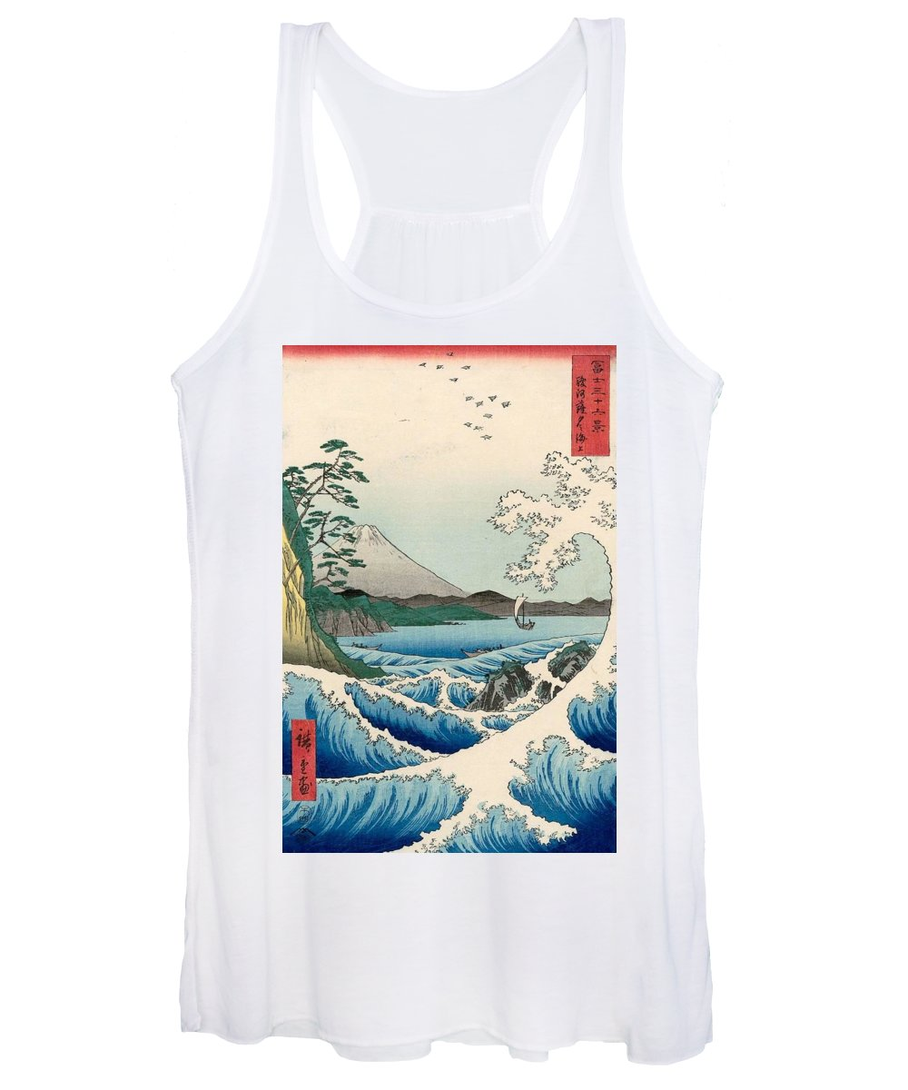 1858 Women's Tank Top featuring the painting The Sea Off Satta In Suruga Province by Utagawa Hiroshige