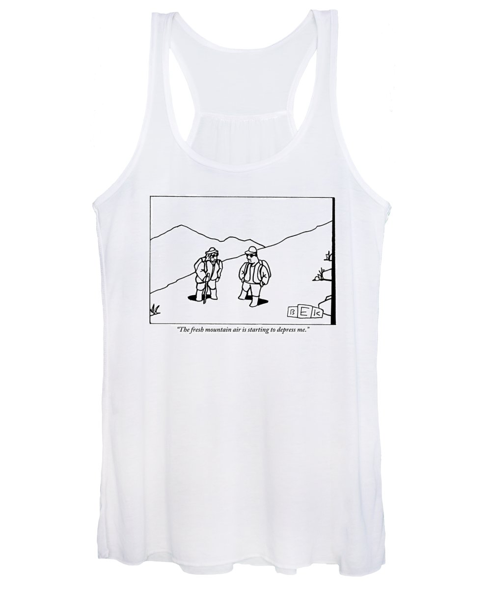 Fresh Air Women's Tank Top featuring the drawing Two Hikers Are Talking To Each Other Outdoors by Bruce Eric Kaplan