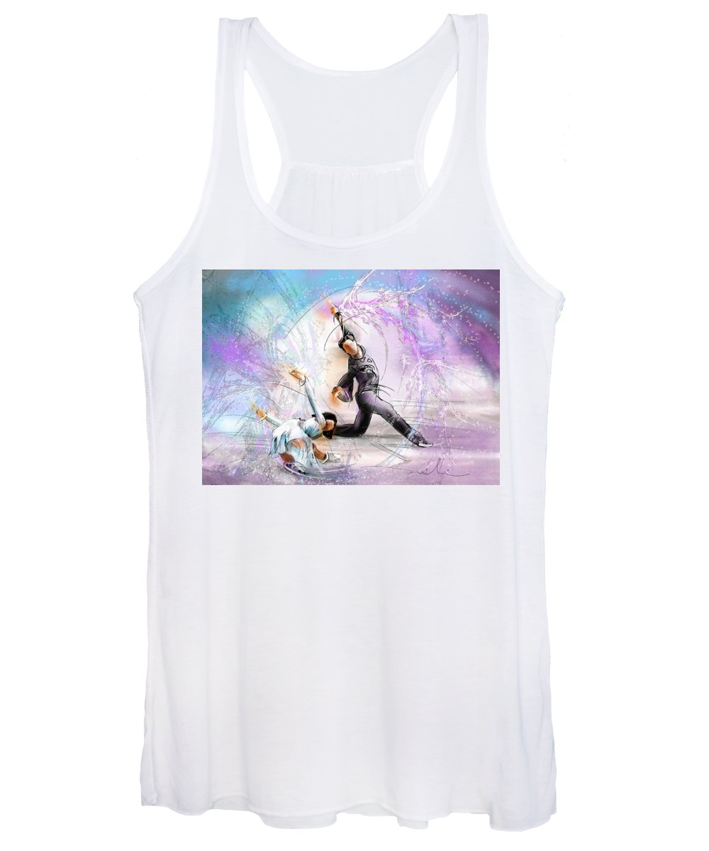 Sports Women's Tank Top featuring the painting Figure Skating 02 by Miki De Goodaboom