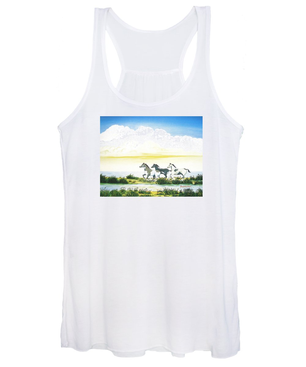Chincoteague Women's Tank Top featuring the painting Indian Ponies by Jerome Stumphauzer