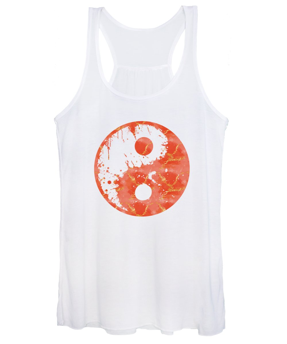 Abstract Women's Tank Top featuring the digital art Abstract Yin And Yang Taijitu Symbol by Melanie Viola