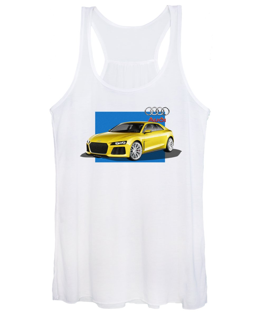 �audi� Collection By Serge Averbukh Women's Tank Top featuring the photograph Audi Sport Quattro Concept With 3 D Badge by Serge Averbukh