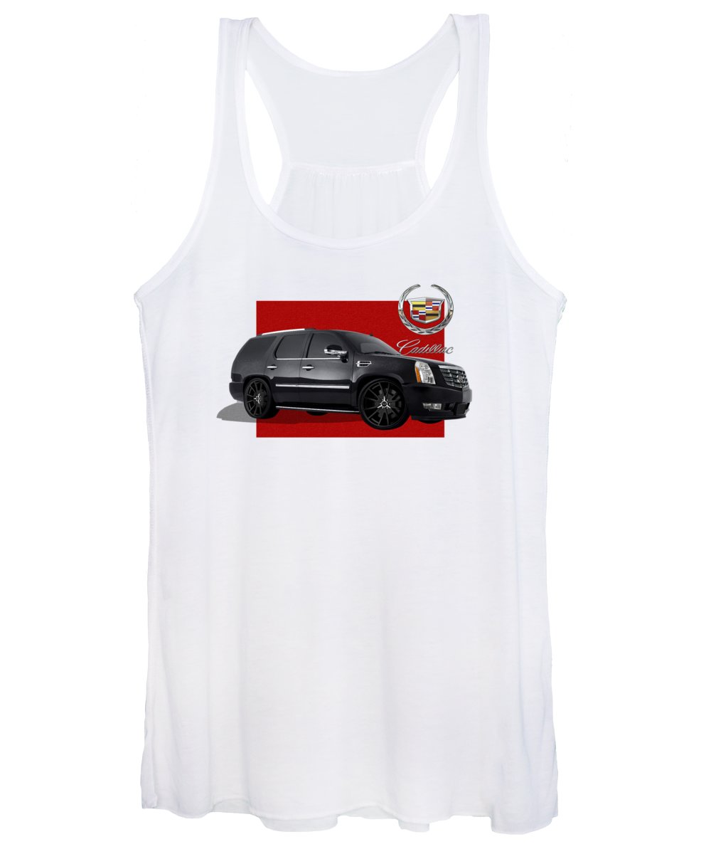 �cadillac� By Serge Averbukh Women's Tank Top featuring the photograph Cadillac Escalade With 3 D Badge by Serge Averbukh