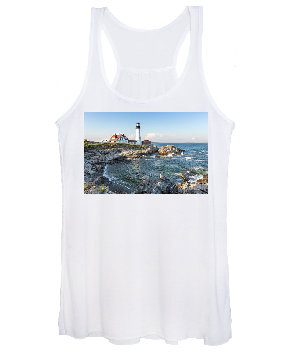 Lighthouse Women's Tank Top featuring the photograph Portland Head Lighthouse by Jane Rix