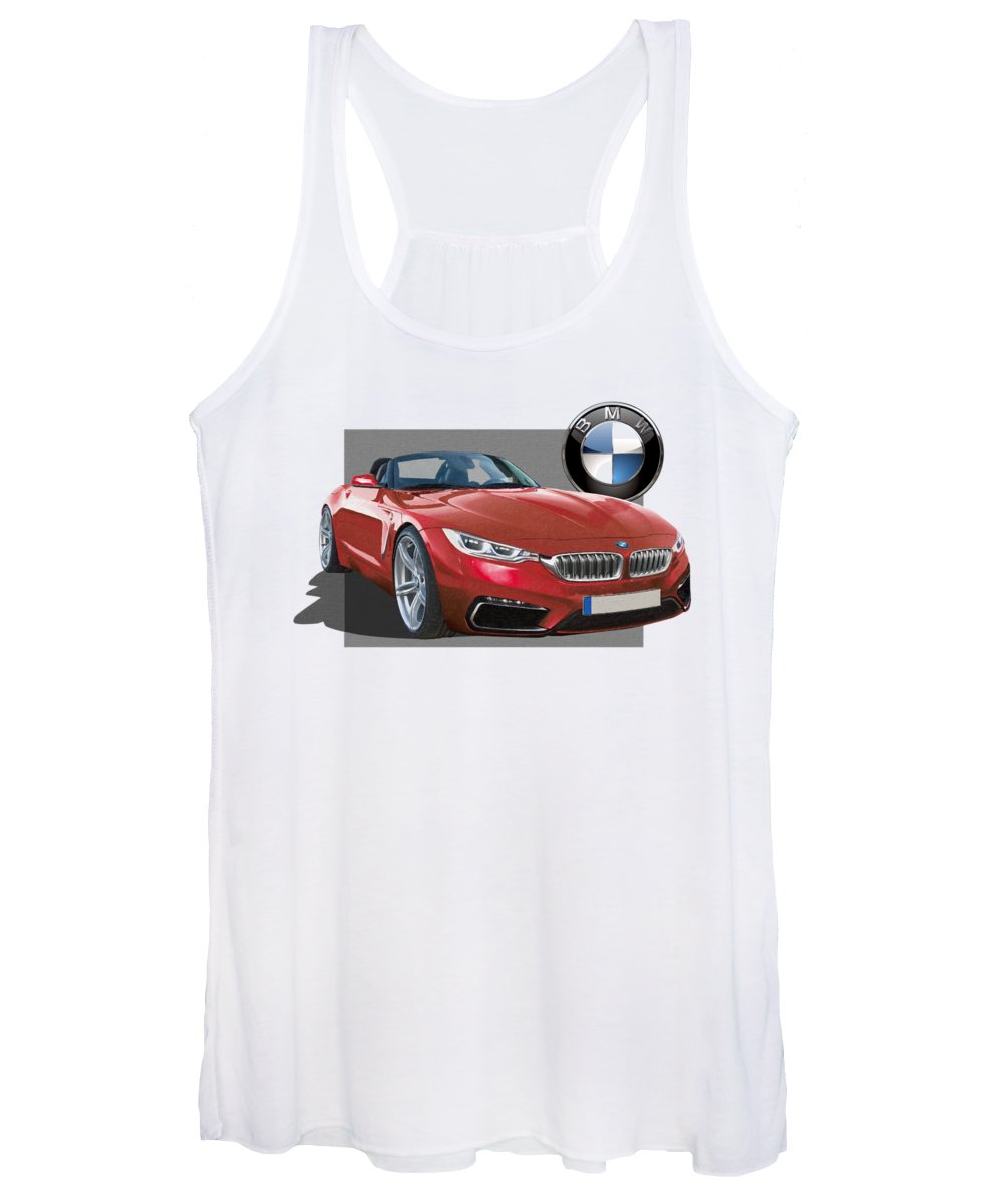 �bmw� Collection By Serge Averbukh Women's Tank Top featuring the photograph Red 2018 B M W Z 5 With 3 D Badge by Serge Averbukh