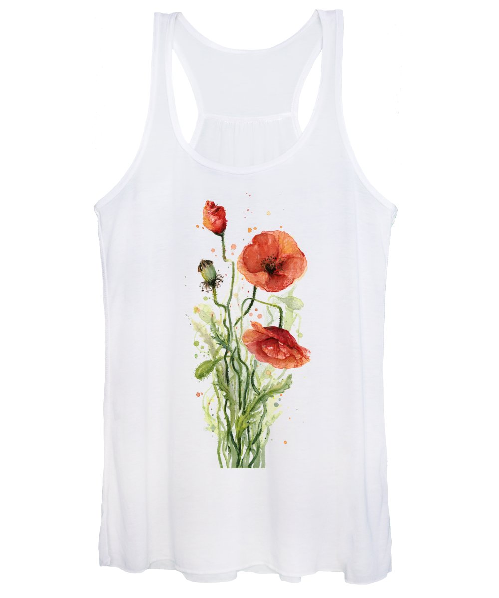 Red Poppy Women's Tank Top featuring the painting Red Poppies Watercolor by Olga Shvartsur