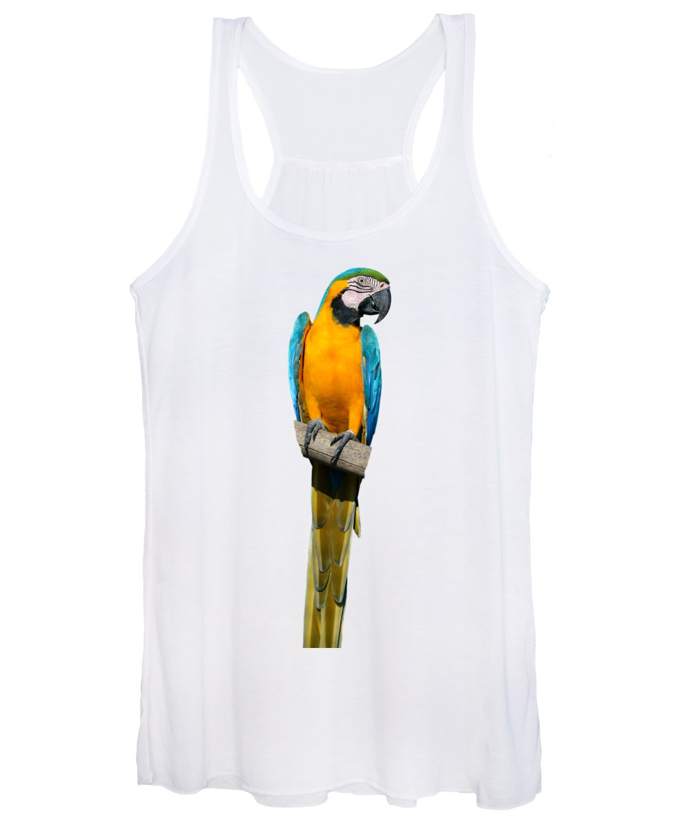 Blue And Gold Macaw Women's Tank Top featuring the photograph Blue And Gold Macaw by George Atsametakis