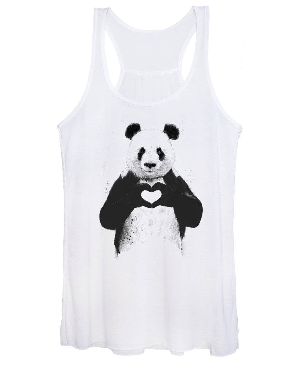 Panda Women's Tank Top featuring the mixed media All you need is love by Balazs Solti
