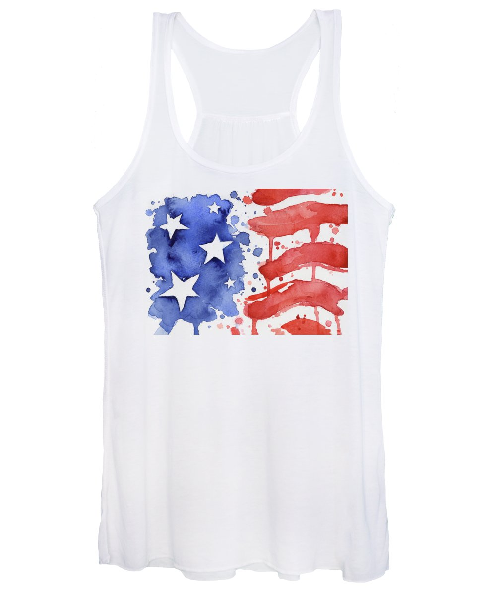 Red Women's Tank Top featuring the painting American Flag Watercolor Painting by Olga Shvartsur