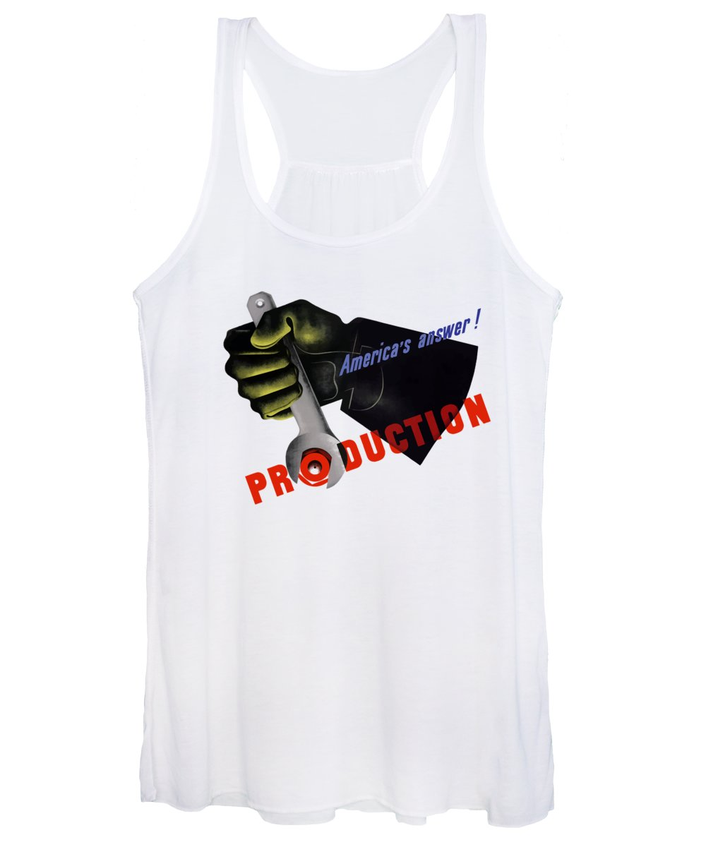 American Worker Women's Tank Top featuring the painting America's Answer -- Production by War Is Hell Store