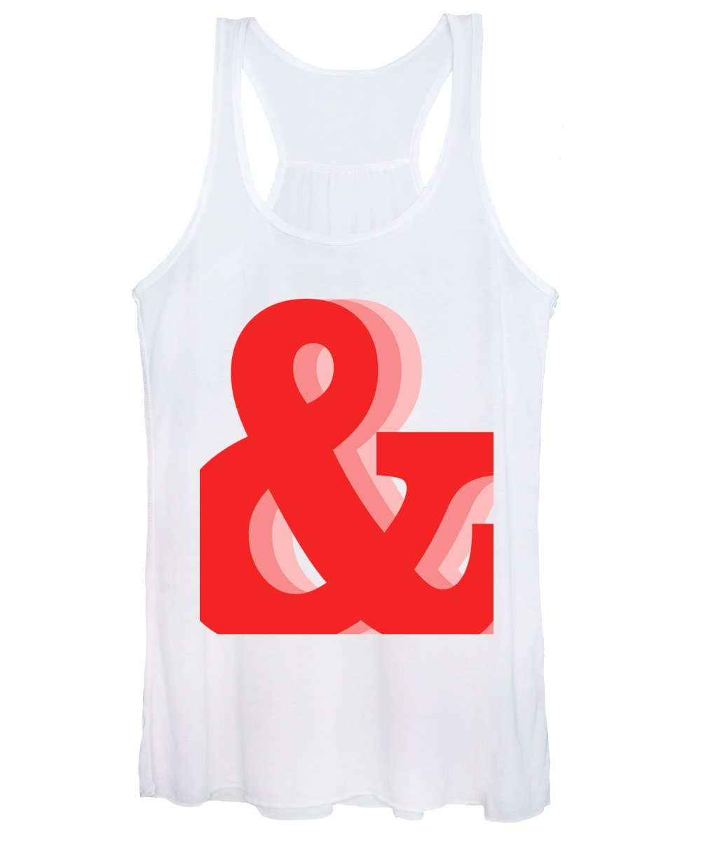 & Women's Tank Top featuring the mixed media Ampersand - Red - And Symbol - Minimalist Print by Studio Grafiikka