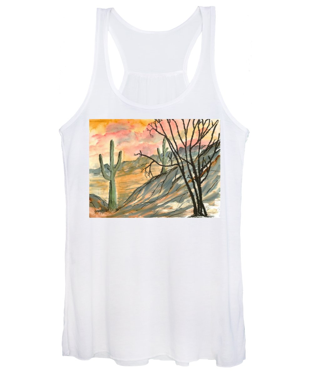 Drawing Women's Tank Top featuring the painting Arizona Evening Southwestern landscape painting poster print by Derek Mccrea