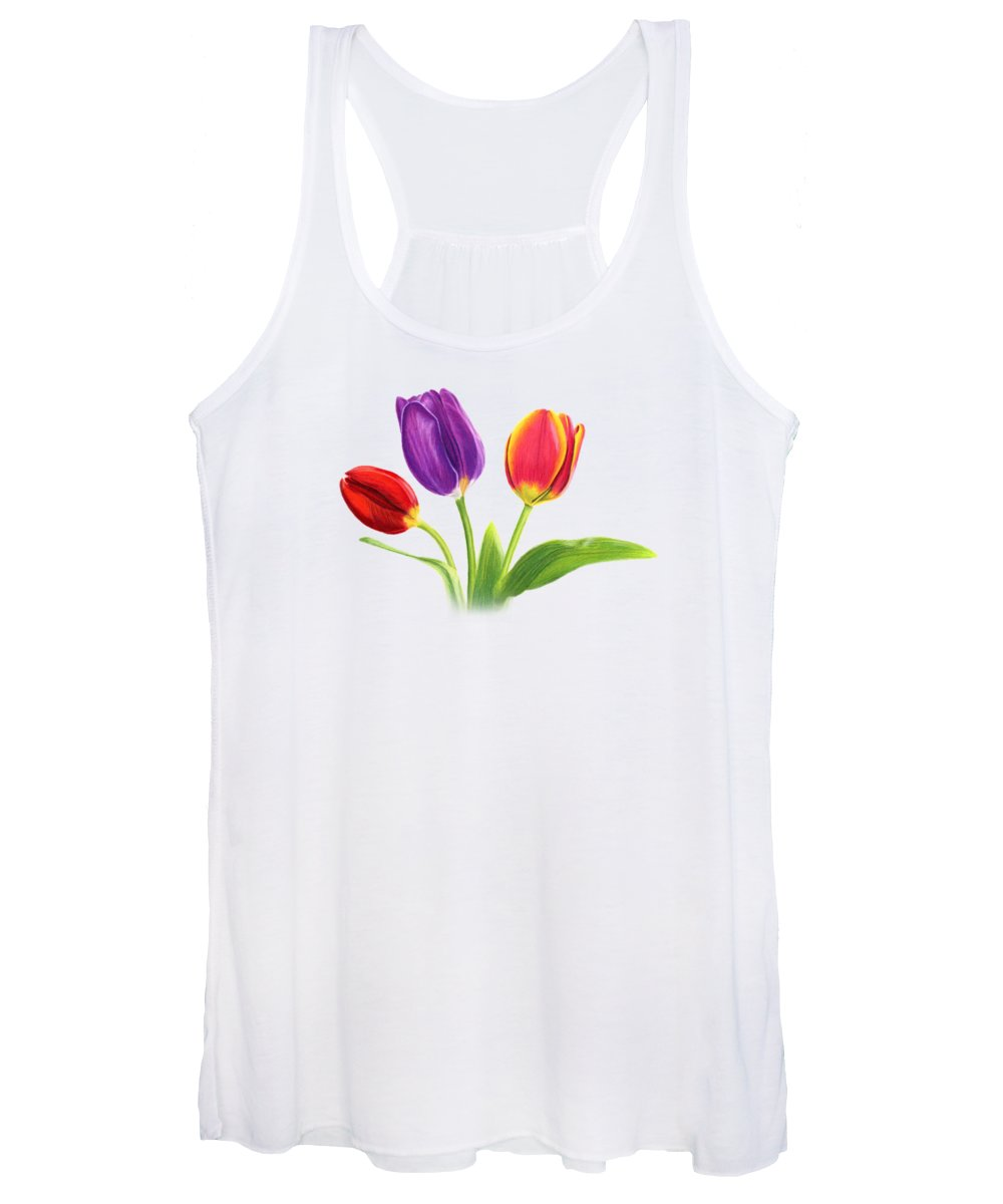 Tulips Women's Tank Top featuring the painting Tulip Trio by Sarah Batalka