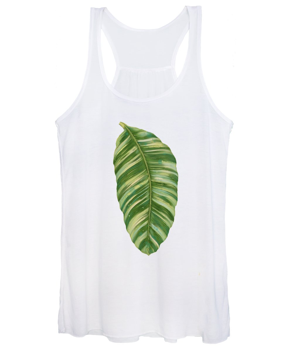 Tropical Women's Tank Top featuring the painting Rainforest Resort - Tropical Leaves Elephant's Ear Philodendron Banana Leaf by Audrey Jeanne Roberts