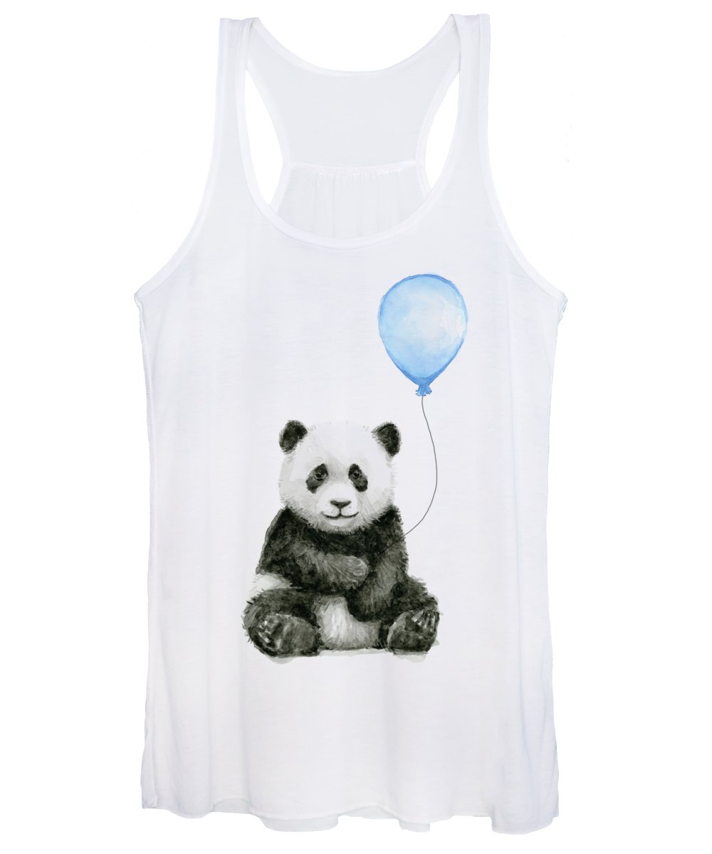 Baby Panda Women's Tank Top featuring the painting Baby Panda With Blue Balloon Watercolor by Olga Shvartsur