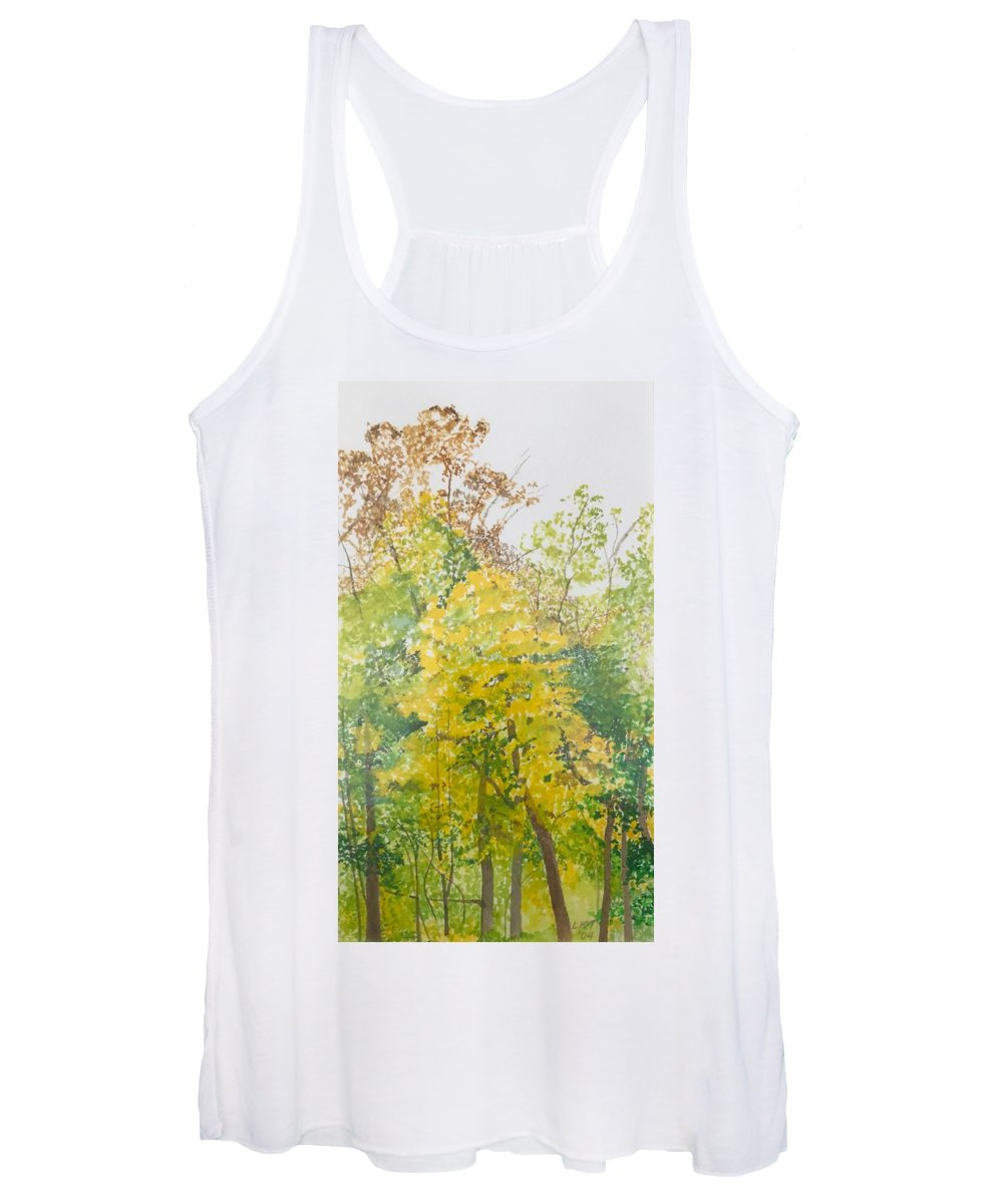 Autumn Women's Tank Top featuring the painting Backyard by Leah Tomaino