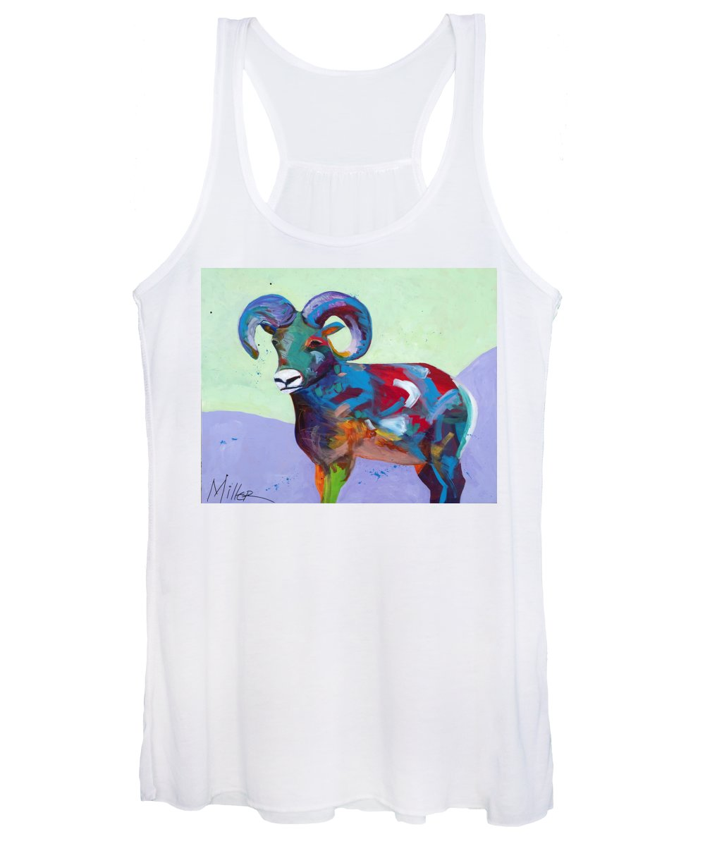 Bighorn Sheep Women's Tank Top featuring the painting Big Ram by Tracy Miller